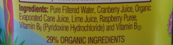 Ingredients from Odwalla juice bottle