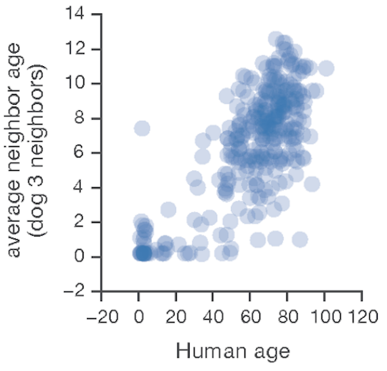Average corresponding dog age for each human